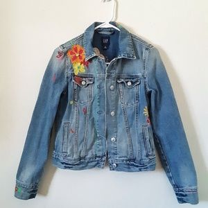 GAP Distressed Embroidered Button Down Jean Jacket